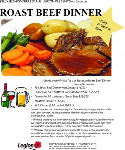 Billy Bishop Roast Beef Dinner